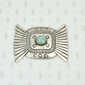 Large Silver & Turquoise Brooch with Hearts