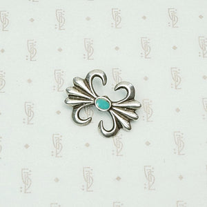 Small Sand Cast Sterling & Turquoise Pin