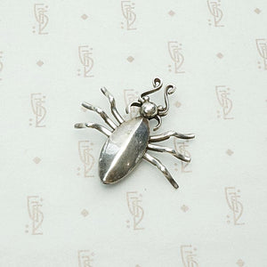 Hand Made American Silver Spider Brooch