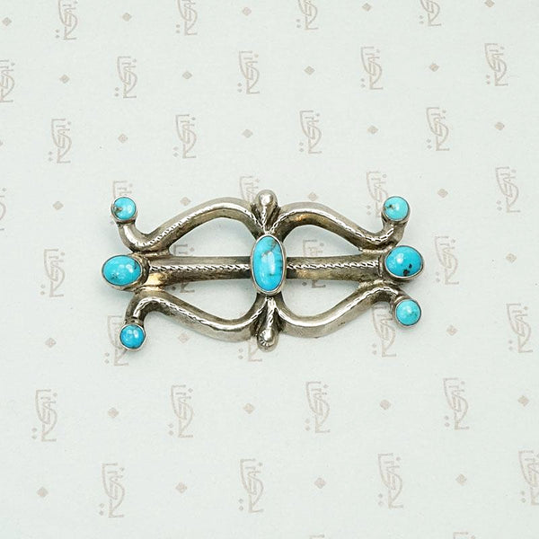 Sand Cast Silver & Turquoise 1940s Brooch
