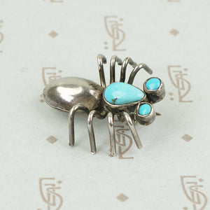 Adorable Spider Pin in Sterling and Turquoise