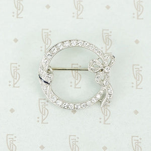 Graceful Diamond Bow Brooch
