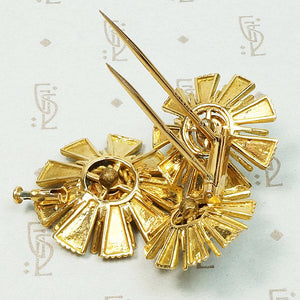 French 18K Gold & Persian Turquoise Flower Brooch