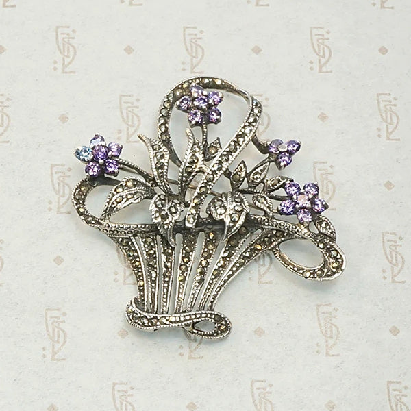 Romantic 1930s Flower Basket Brooch