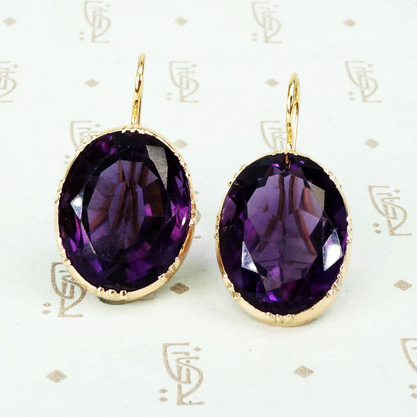 Regal Antique Collet Set Amethyst Earrings