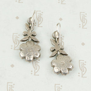 Early Floral Paste Earrings in Silver