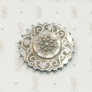 Sterling Star-Studded Locket Brooch