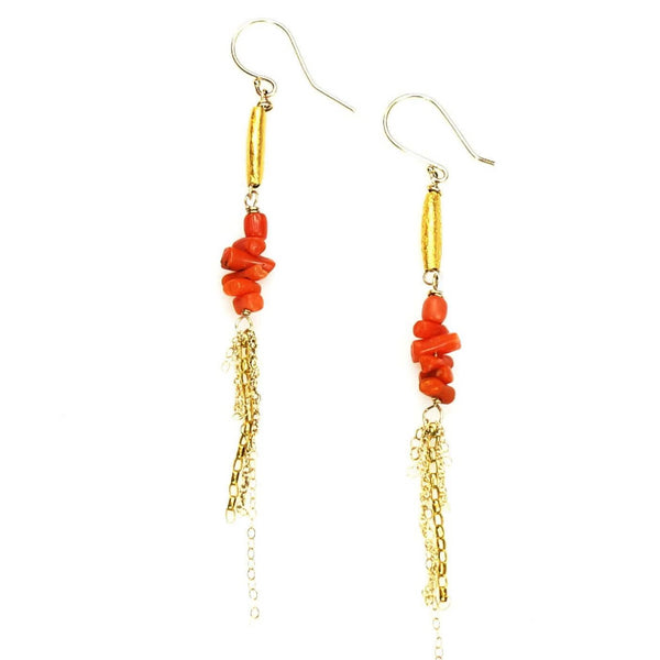 Antique Coral and 14k gold Fringe Earrings by Brunet