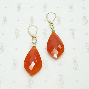 Faceted Carnelian Earrings with Handmade Gold Details by brunet