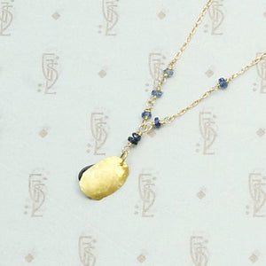 Hand Forged 18k Gold Leaf & Sapphire Necklace by brunet, back view