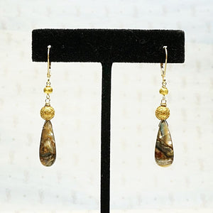 Abalone and Antique 18k Gold Bead Earrings by brunet