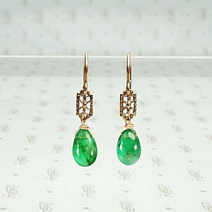 Emerald Filigree Earrings in Rose Gold by brunet