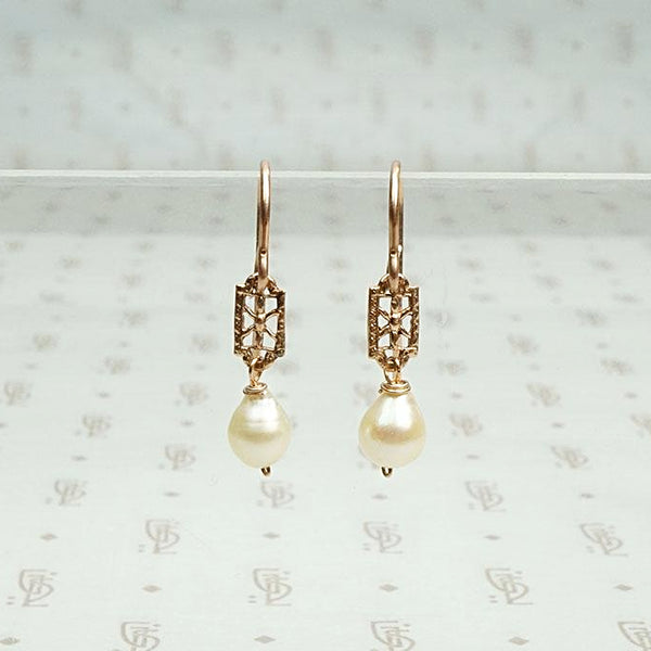 Rose Gold Filigree & Baroque Pearl Earrings by brunet