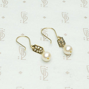 Baroque Pearl and Filigree Earrings by brunet, back view.