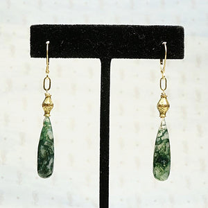 Antique Gold and Moss Agate Drop Earrings by brunet