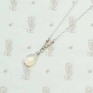 Opal Teardrop Necklace on White Gold Chain by brunet