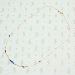 Enamel Bead, Lapis & Pearl Necklace by brunet