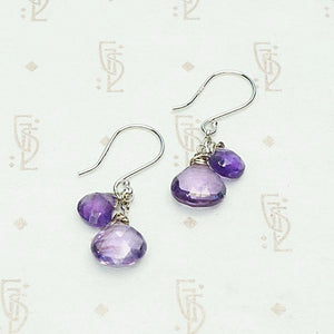 Amethyst Teardrop Earrings in White Gold by brunet