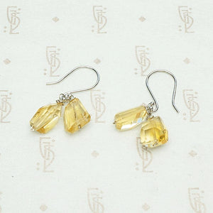 Chunky Citrine Drop Earrings in White Gold by brunet
