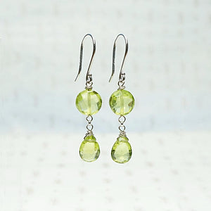 Peridot and White Gold Drop Earrings by brunet