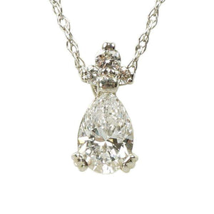 1950's Pear Shaped Diamond Pendant in White Gold VS1 f