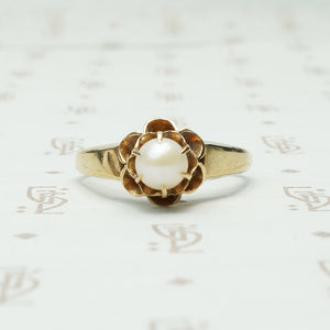 14k yellow gold tulip set pearl solitaire ring circa 1900