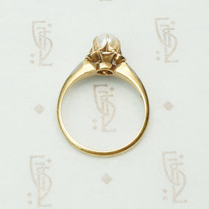 Gold Tulip Set Pearl Ring Circa 1900