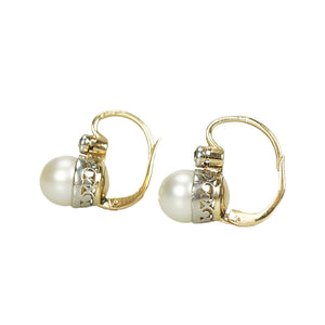 Antique Pearl and Diamond Ear Bobs - Gem Set Love