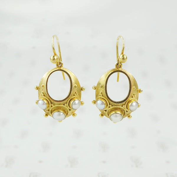 victorian 15 karat gold and pearl earrings