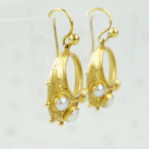 victorian 15 karat gold and pearl earrings side view