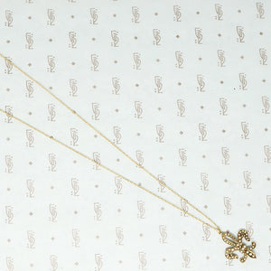 gold fleur de lis pendant set with pearls