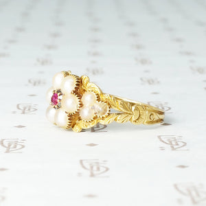 Georgian Rose Pearl and Ruby Locket Ring