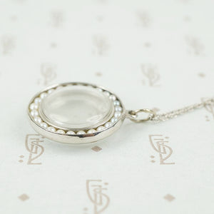 Vintage White Gold Crystal Locket with Pearls