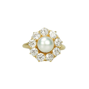 Perfect Pearl Surrounded by Sparkling OEC Diamonds in 18k - Gem Set Love