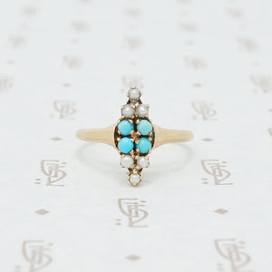 Victorian gold turquoise and pearl ring