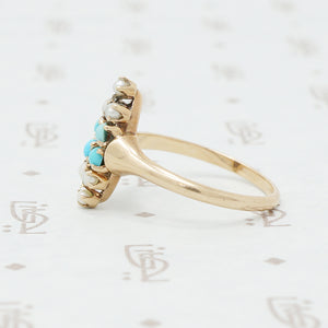 Victorian gold turquoise and pearl ring side view
