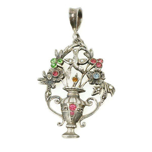 Beautiful Flower Basket Pendant with Bird Silver & Paste