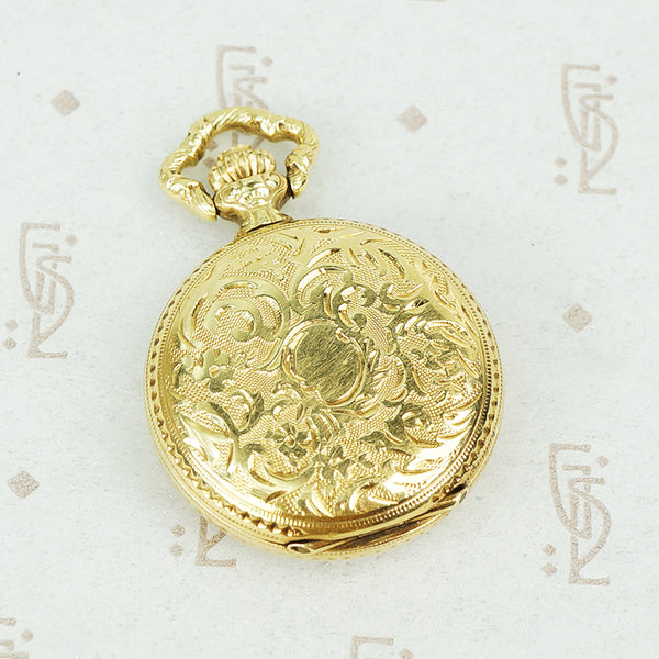 14k gold vintage ladies pendant watch with cover