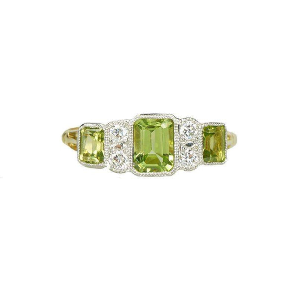 a3c2661700201 Peridot and Diamond Ring in 18k Yellow Gold and Platinum