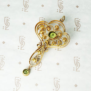 Art Nouveau Pearl and Peridot Pendant