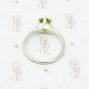 Recycled White Gold Peridot Solitaire