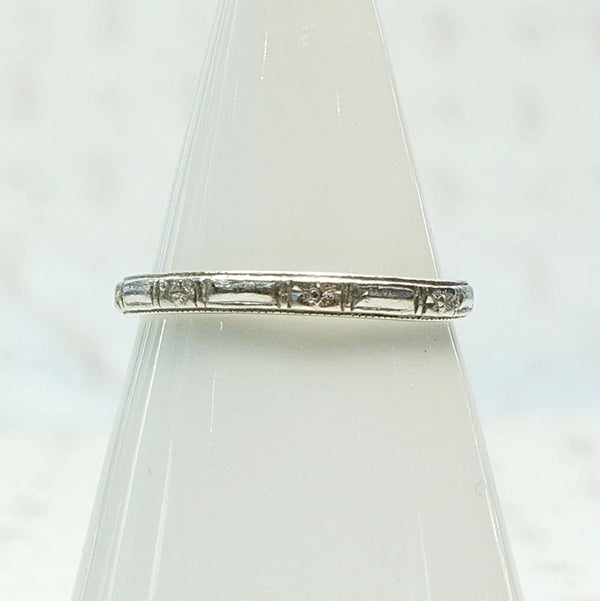 Art Deco Flowers and Bars Platinum Band
