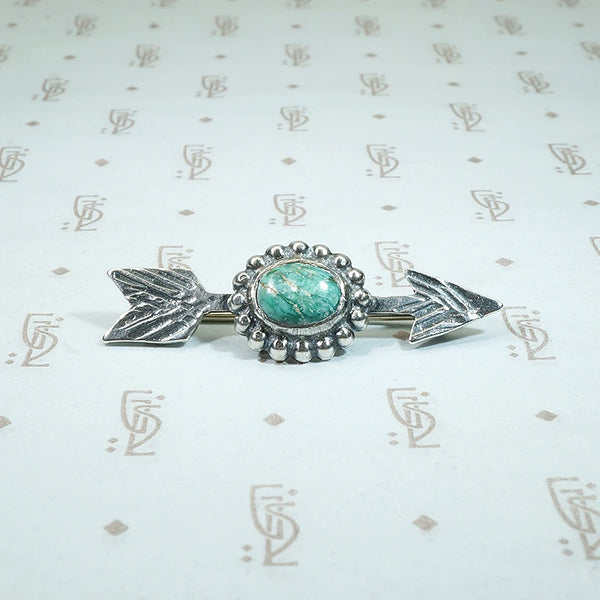 Turquoise Arrow Brooch in Silver