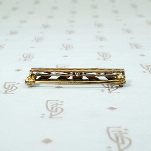 Two Tone Engraved Gold with Diamond & Pearls Pin by Krementz