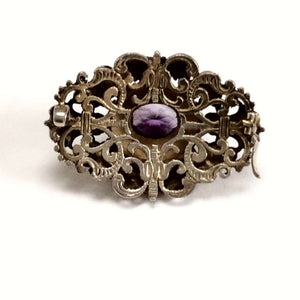 Renaissance Revival Austro-Hungarian Amethyst Brooch with pearls