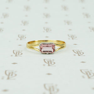 Vintage Pink Imperial Topaz in Recycled Platinum and 18k