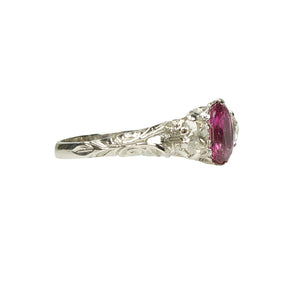 Pink Sapphire and Mine Cut Diamond Ring