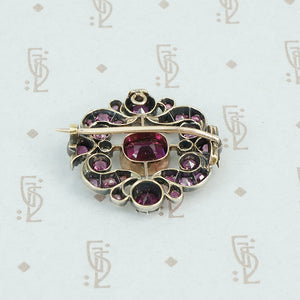 19th century almandine garnet brooch back