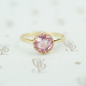 pink tourmaline in recycled 14k yellow gold ring