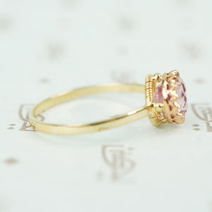 pink tourmaline in recycled 14k yellow gold ring side